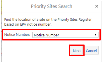 PSR search by notice number