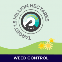 2019 Progress Report Weed control target badge, target 1.5 million hectares