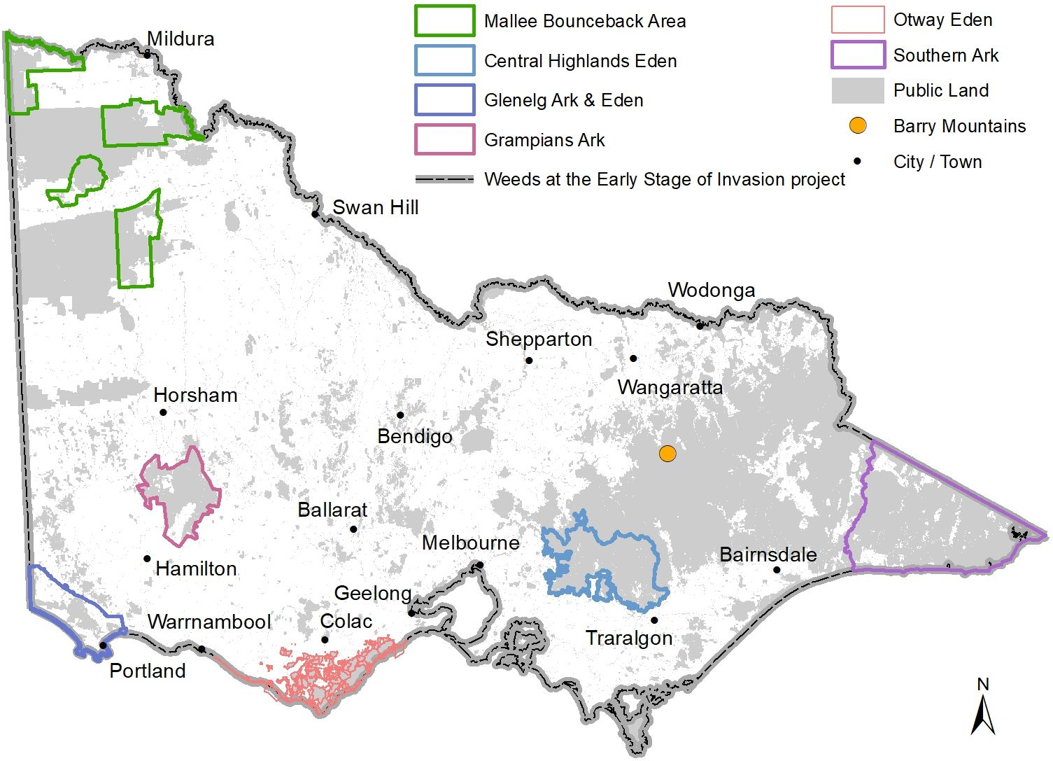 Map of project areas funded through WPPL program