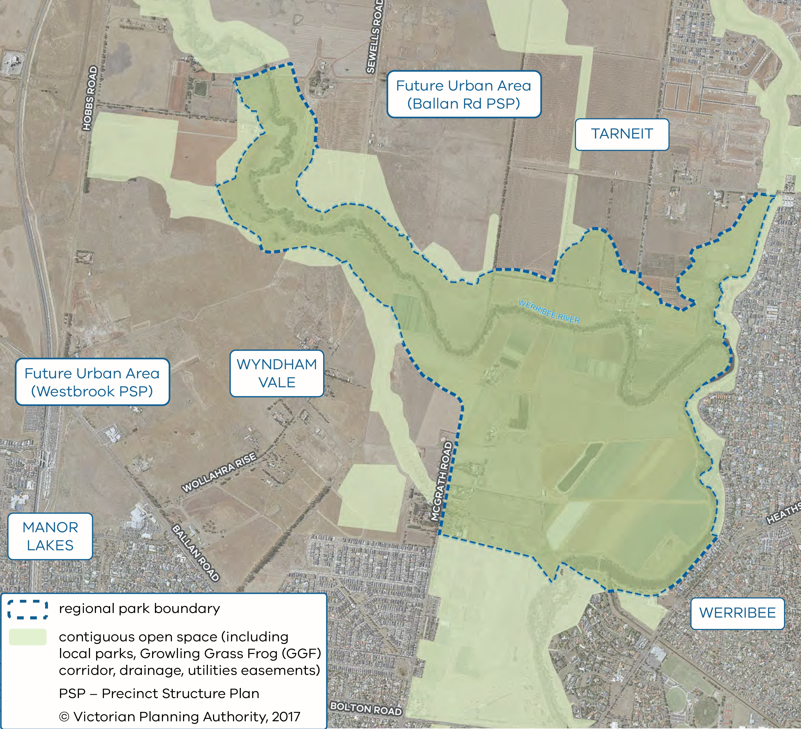 Map of the Werribee township boundary