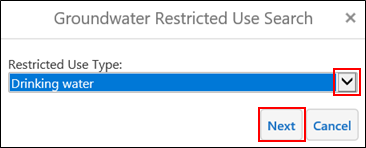 groundwater restricted use search