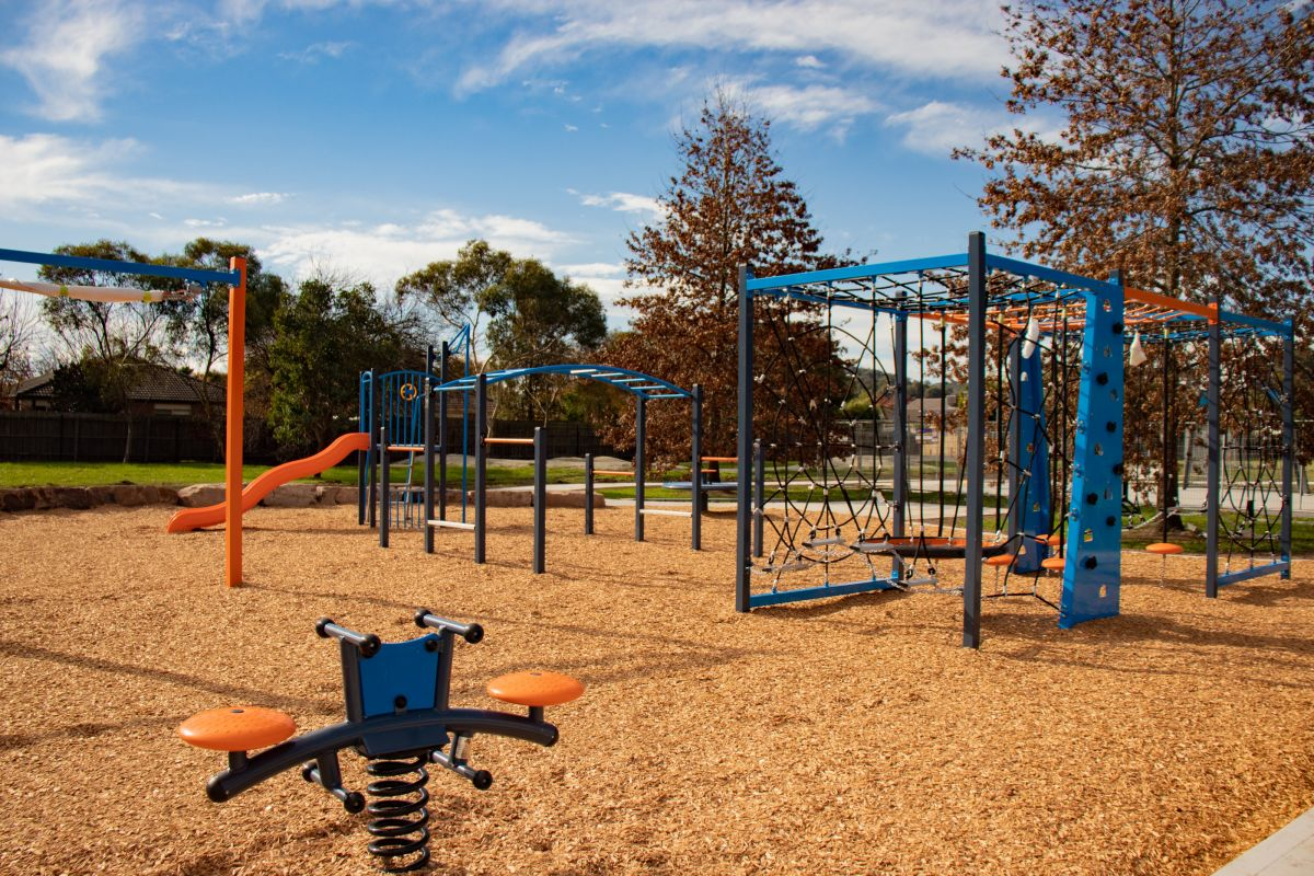 Footscray Park playground featuring slide